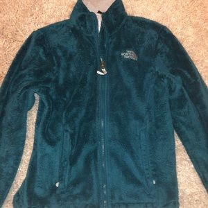 Fuzzy teal North Face zip-up